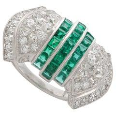 Emerald Diamond Platinum Ring