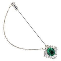 Emerald Diamond Platinum Stickpin