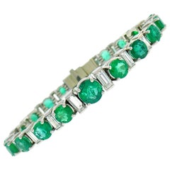 Emerald Diamond Platinum Tennis Line Bracelet, 1950s, French