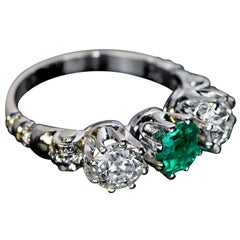 Emerald Diamond Platinum Three-Stone Ring, 1930s