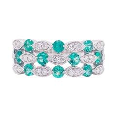 Emerald Diamond Ring, 14 Karat White Gold, Three Row Band, Fashion Band