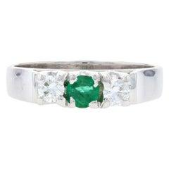 Emerald & Diamond Ring, 14k White Gold Engagement Round Brilliant .46ctw