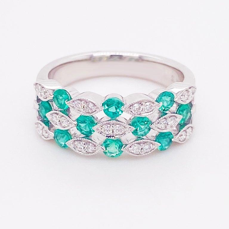 Modern Emerald Diamond Ring, 14 Karat White Gold, Three Row Band, Fashion Band For Sale
