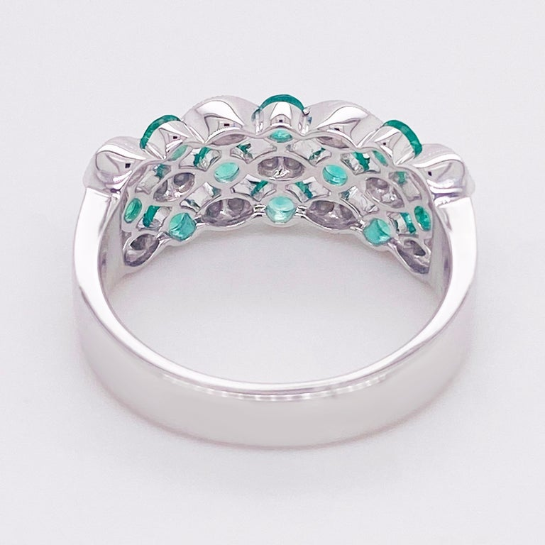 Emerald Diamond Ring, 14 Karat White Gold, Three Row Band, Fashion Band In New Condition For Sale In Austin, TX