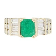Emerald and Diamond Ring, 14 Karat Yellow Gold Women's 2.31 Carat