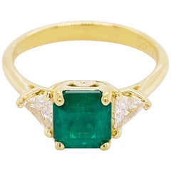 Emerald Diamond Ring, 18 Karat Gold, Three-Stone, 1.88 Carat, Gem Engagement
