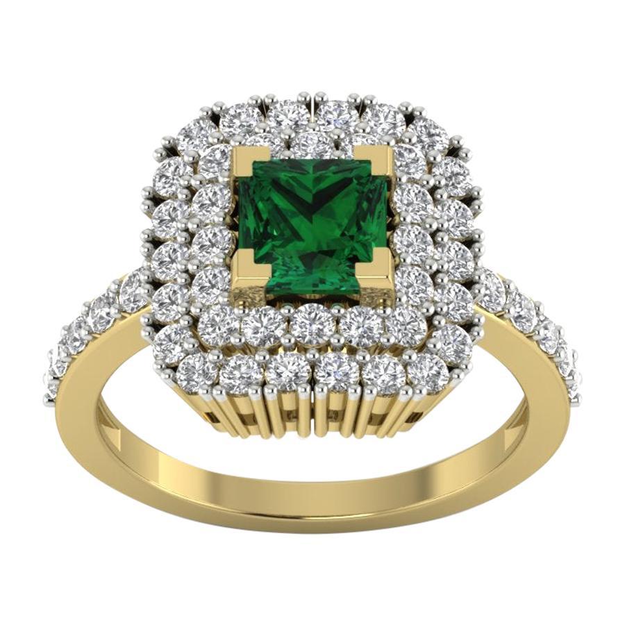 Emerald Diamond Ring 18 Karat Yellow Gold