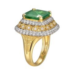 Emerald Diamond Ring 18K Yellow Gold
