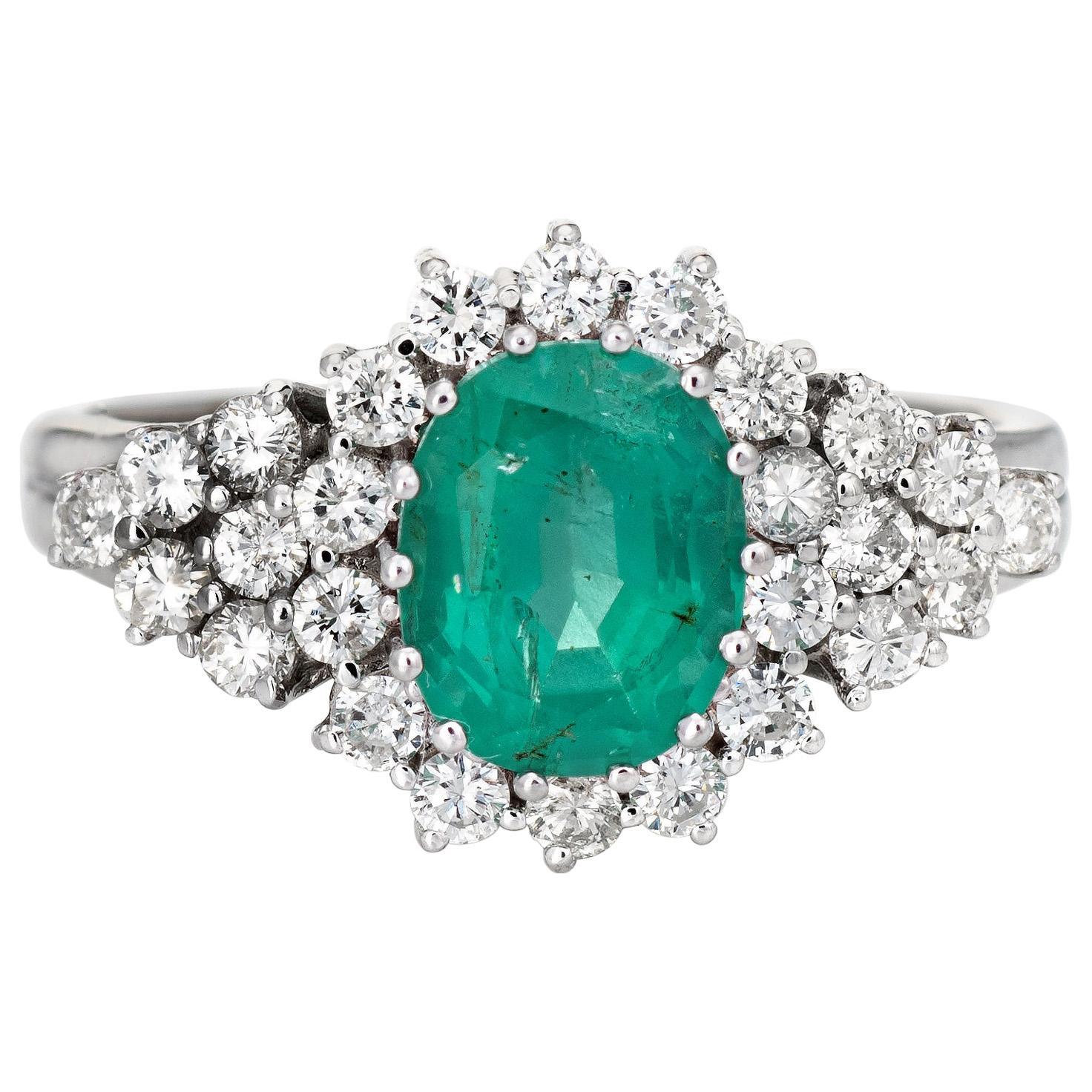 Emerald Diamond Ring Estate 14k White Gold Gemstone Engagement Jewelry