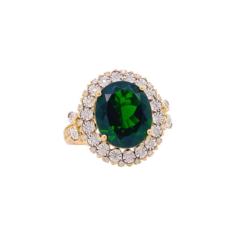 Russalite Diamond Ring, Mixed Metal, 4.25Ct Oval Gemstone with Halo of Daimonds For Sale