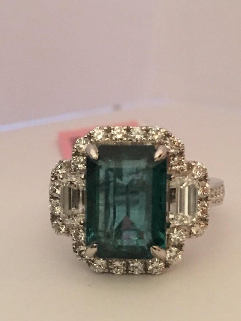 Emerald Diamond Ring Set In 18 Karat White Gold For Sale