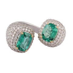 Emerald & Diamond Ring Studded in 18K Gold