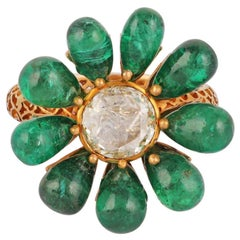 Emerald and Diamond Ring Studded in 18 Karat Yellow Gold