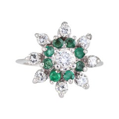 Emerald Diamond Ring Vintage 14 Karat Gold Round Cocktail Ring Cluster Jewelry