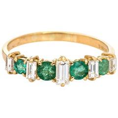 Emerald Diamond Ring Vintage 18 Karat Yellow Gold Wedding Band Estate Jewelry