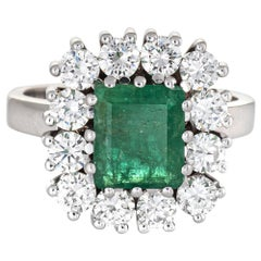 Emerald Diamond Ring Vintage 18 Karat Gold Square Cocktail Jewelry Fine Estate