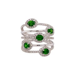 Emerald Diamond Ring, White Gold, 1.60 Ct Natural Emerald Ring 130 Diamonds