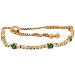 Emerald Diamond Rose Gold Bolo Bracelet