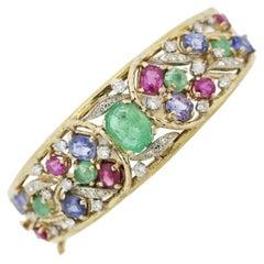 Emerald Diamond Ruby Sapphire Gold Bangle Bracelet