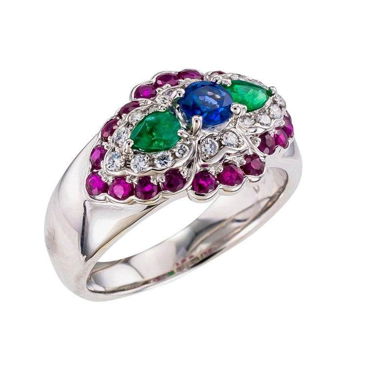Emerald diamond ruby sapphire and platinum ring.   Love it because it caught your eye, and we are here to connect you with beautiful and affordable jewelry.  It is time to claim a special reward for Yourself!  Clear and concise information you want