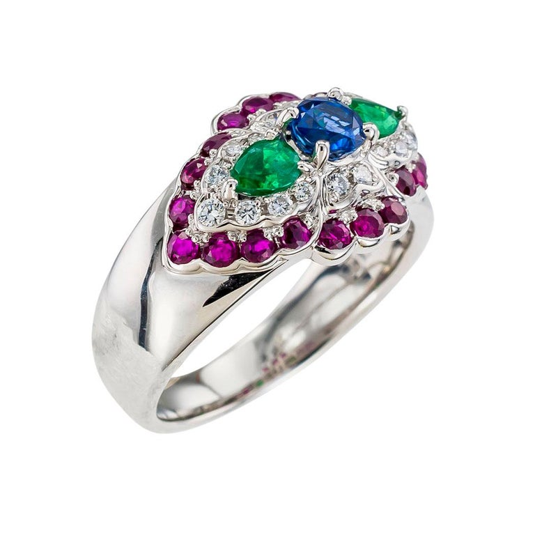 Contemporary Emerald Diamond Ruby Sapphire Platinum Band Ring For Sale