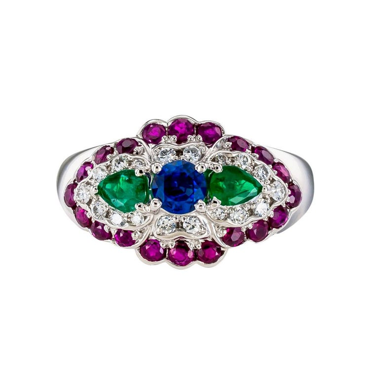 Round Cut Emerald Diamond Ruby Sapphire Platinum Band Ring For Sale
