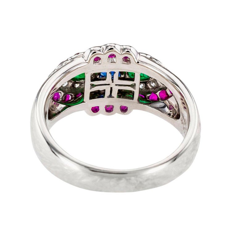 Emerald Diamond Ruby Sapphire Platinum Band Ring In Good Condition For Sale In Los Angeles, CA