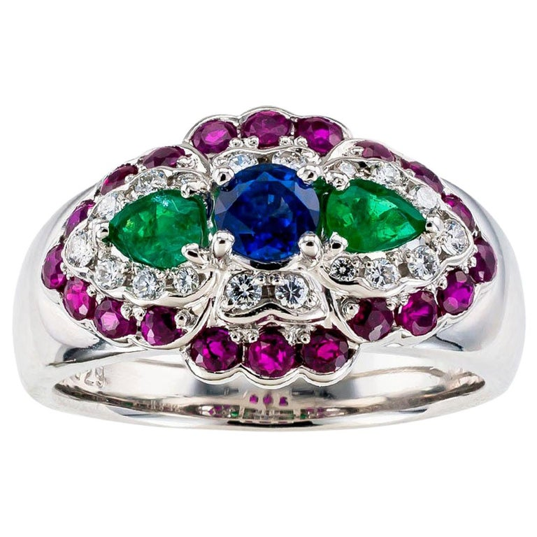 Emerald Diamond Ruby Sapphire Platinum Band Ring For Sale