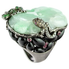 Emerald Diamond Saphhire Onyx Frog Salamander 18 Colored Gold Druzy Unique Ring