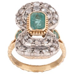 Emerald Diamond Silver and 18 Karat Gold Ring