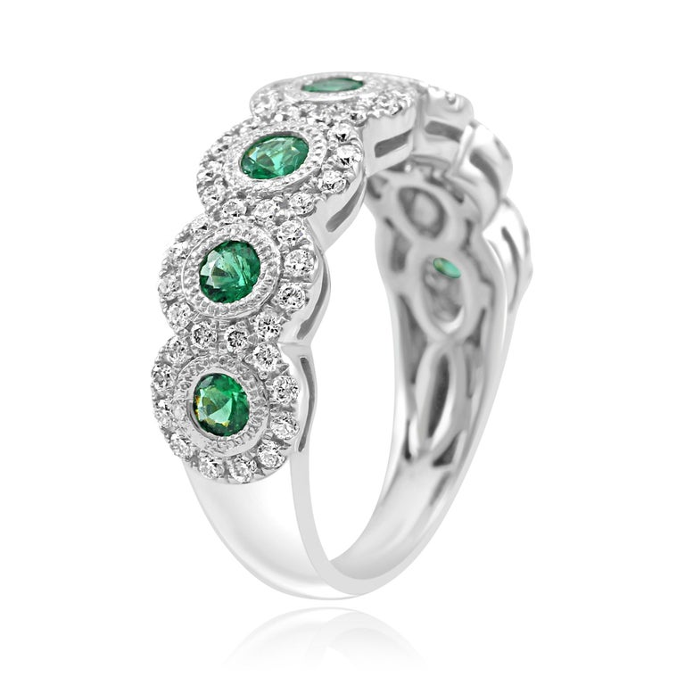 Emerald Diamond Single Halo Gold Band Stackable Fashion Cocktail Ring In New Condition For Sale In NEW YORK, NY