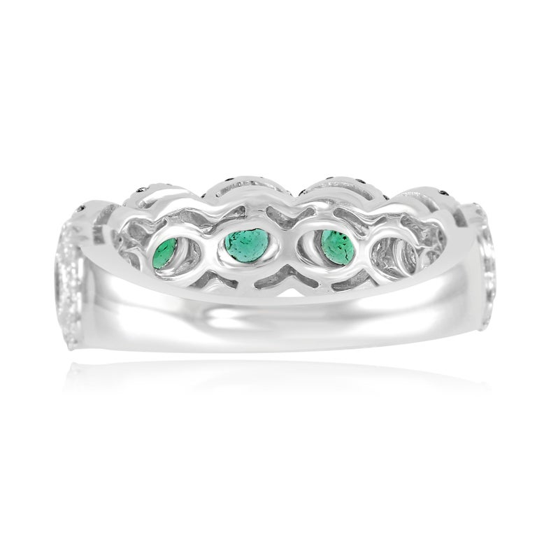 Emerald Diamond Single Halo Gold Band Stackable Fashion Cocktail Ring For Sale 2
