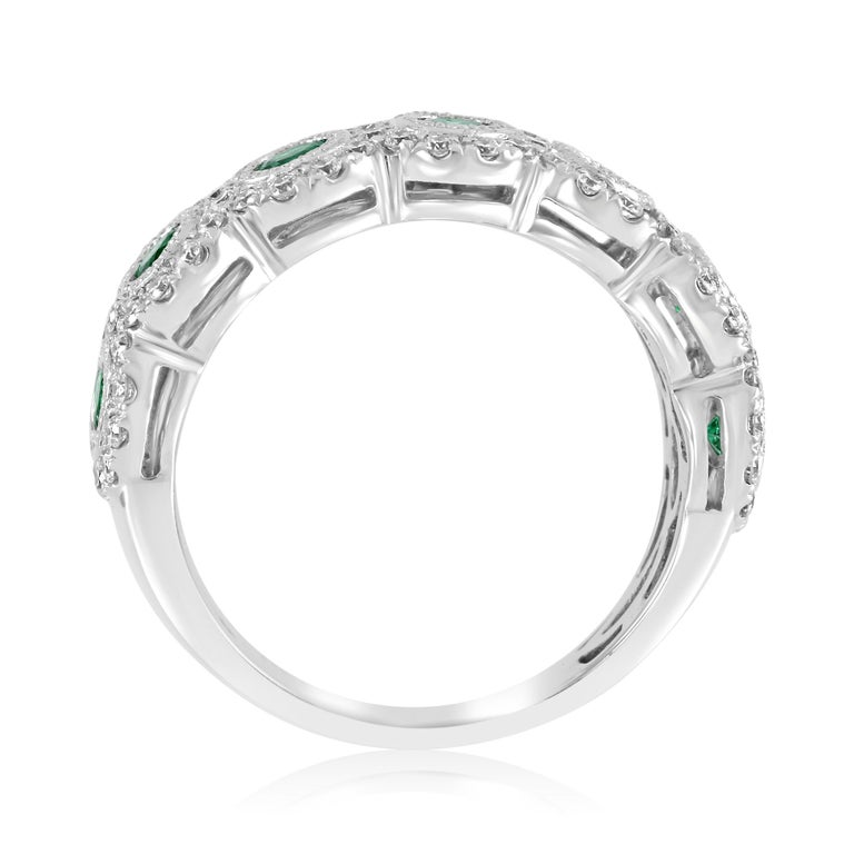 Emerald Diamond Single Halo Gold Strackable Fashion Cocktail Milgrain Band Ring For Sale 3