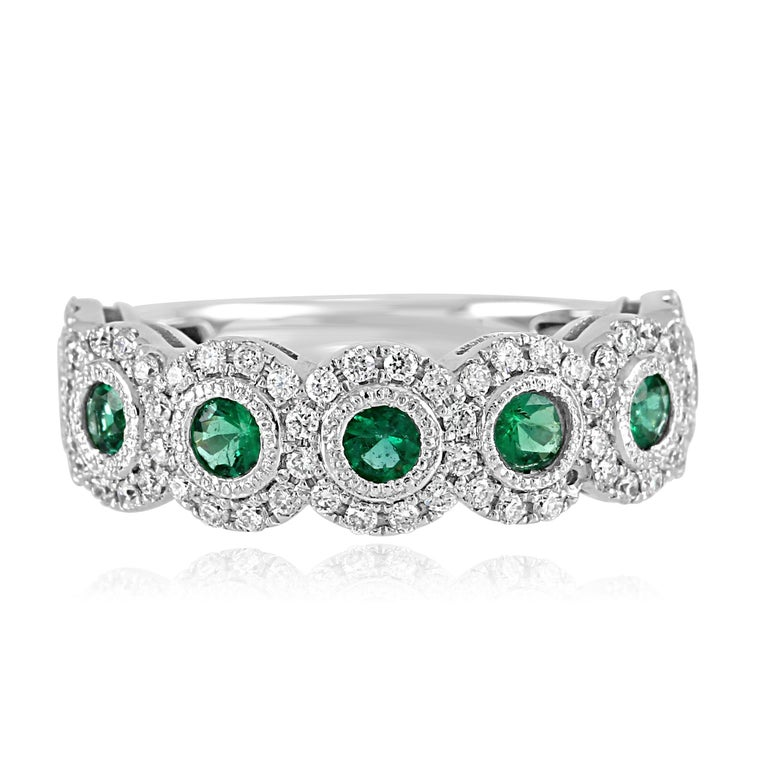 7 Emerald Round 0.61 Carat in a halo of white diamond 0.5O carat in 14k White Gold Stackable Fashion Cocktail  Band Ring.  Emerald Round Weight 0.61 Carat Total Weight 1.11 Carat