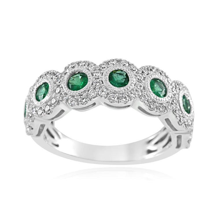 Modern Emerald Diamond Single Halo Gold Strackable Fashion Cocktail Milgrain Band Ring For Sale