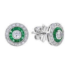 Art Deco Style Round Brilliant Diamond with Emerald Stud Earrings in 18K Gold