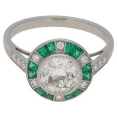 Emerald Diamond Target Engagement Ring