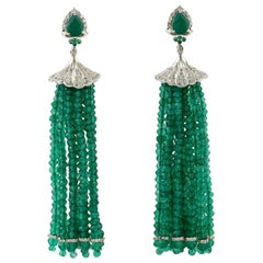 Emerald Diamond Tassel Earrings