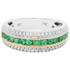 Emerald Diamond Three-Row Channel Set Two Color Gold Fashion Cocktail Band Ring