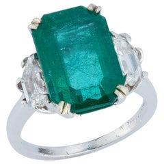 Emerald & Diamond Three Stone Cocktail Ring