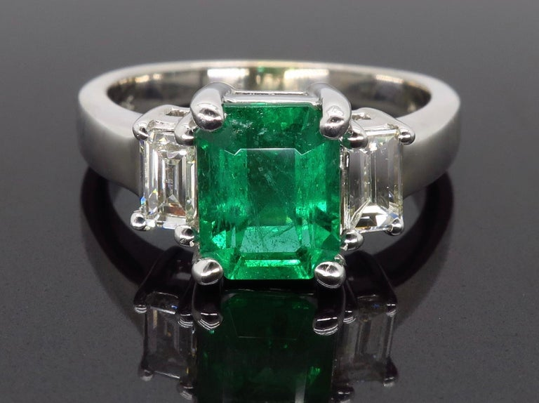 Emerald Cut Emerald and Diamond Three-Stone Ring For Sale
