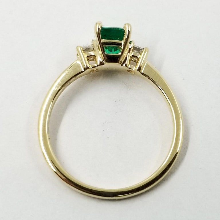 Emerald Cut Emerald and Diamond Three-Stone Ring For Sale