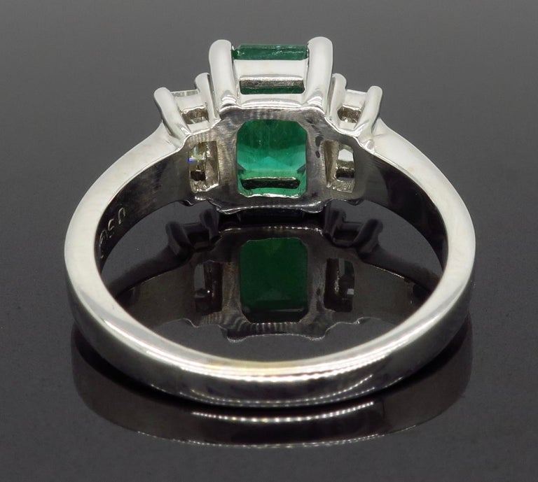 Emerald and Diamond Three-Stone Ring For Sale 1