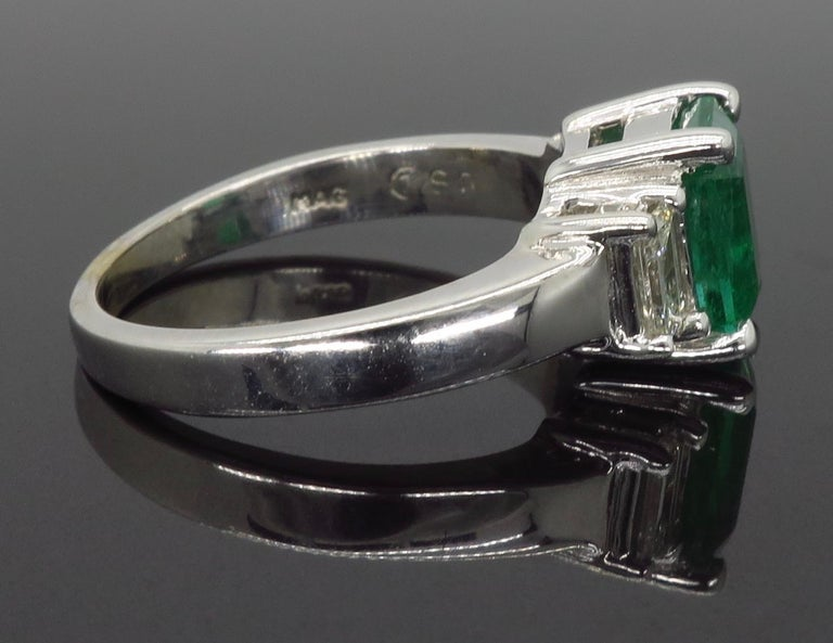 Emerald and Diamond Three-Stone Ring For Sale 2