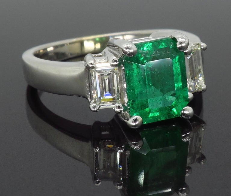 Emerald and Diamond Three-Stone Ring For Sale 3