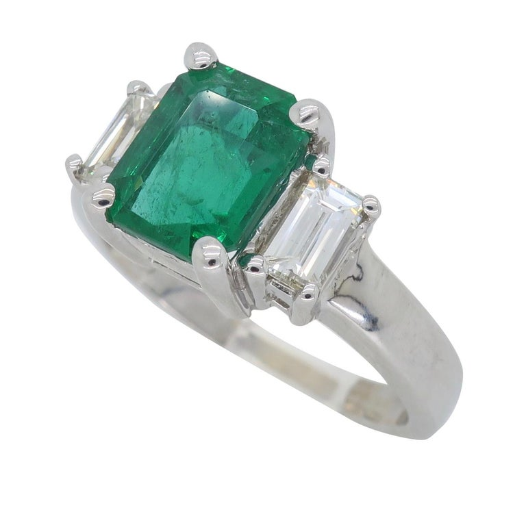 Emerald and Diamond Three-Stone Ring For Sale 4