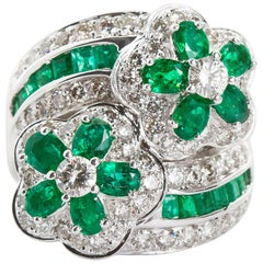 Emerald Diamond Twin Flower Ring, 9.00 Carat