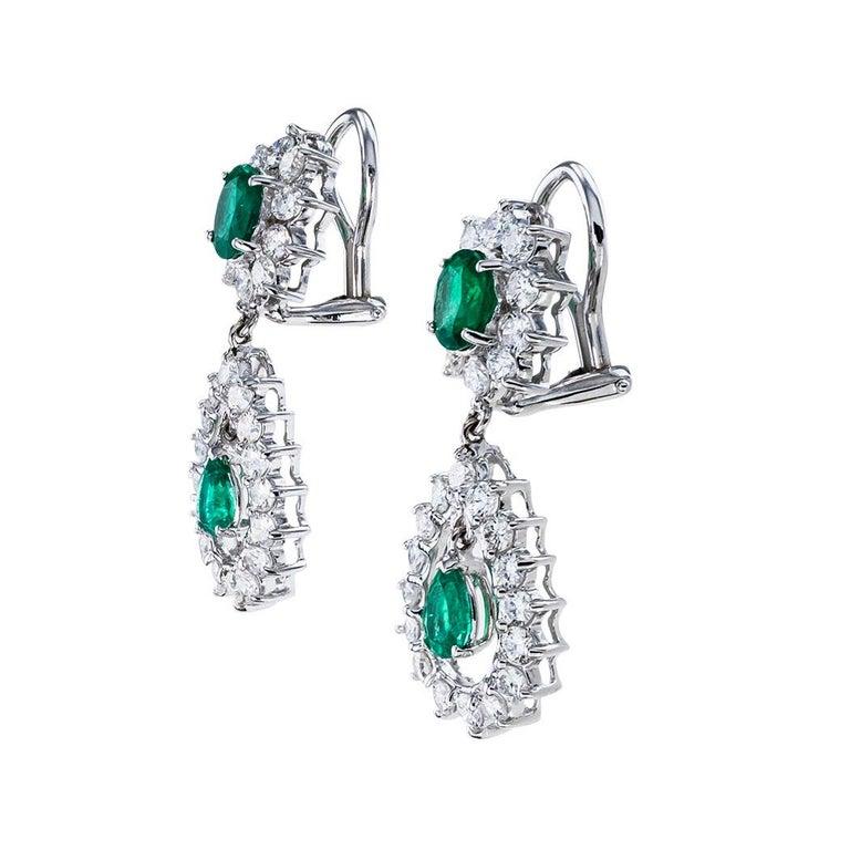 Modern Emerald Diamond White Gold Drop Clip on Earrings For Sale