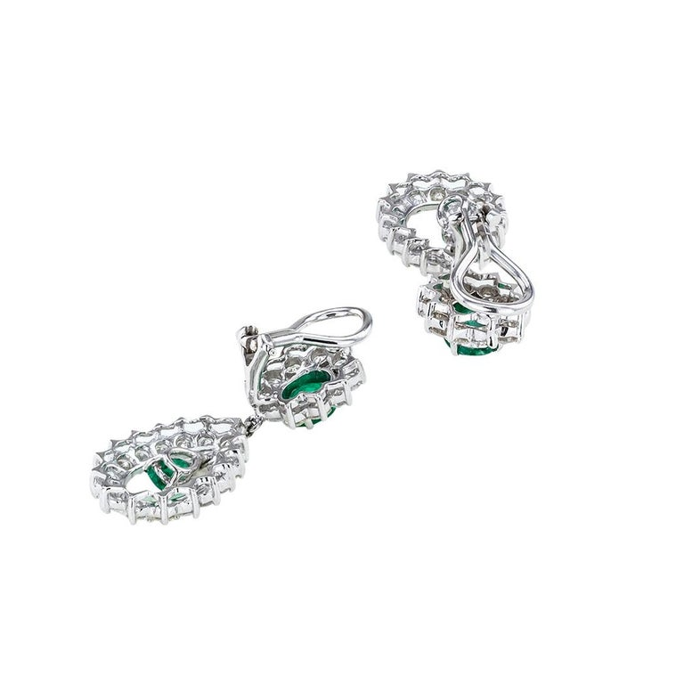 Round Cut Emerald Diamond White Gold Drop Clip on Earrings For Sale