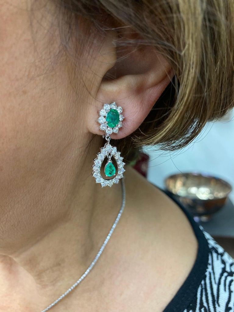 Women's Emerald Diamond White Gold Drop Clip on Earrings For Sale